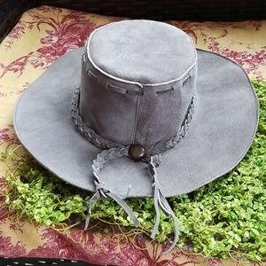 Vtg 70's Floppy BOHO Grey Leather HIPPIE HAT NEW S
